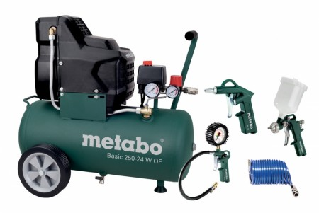 Metabo BASIC 250-24 W OF kompressor + diverse utstyr!